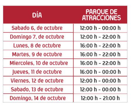 horarios parque atracciones en el Pilar