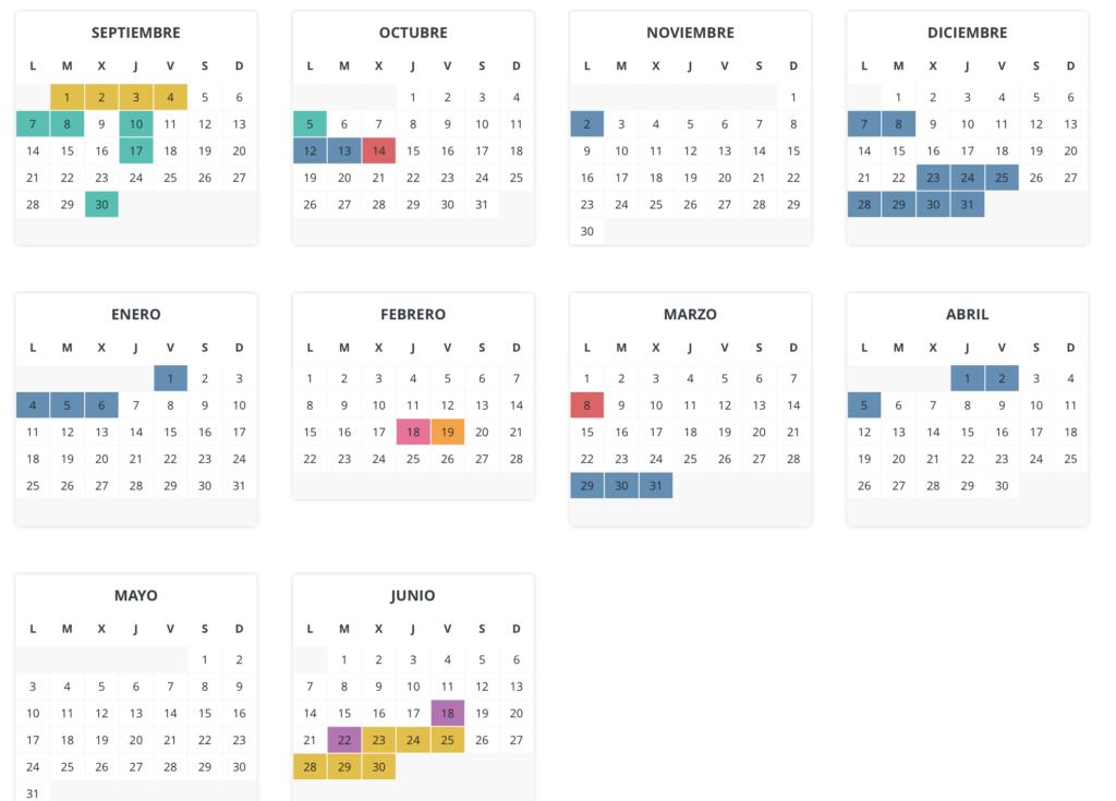 calendario escolar en Aragon curso 2020 2021